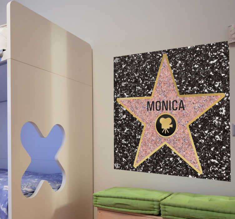 TenStickers. Personalised Hollywood Star Floor Sticker. Customisable - Room Stickers - Are you already a superstar or a star in the making? A brilliant design from our star wall stickers.