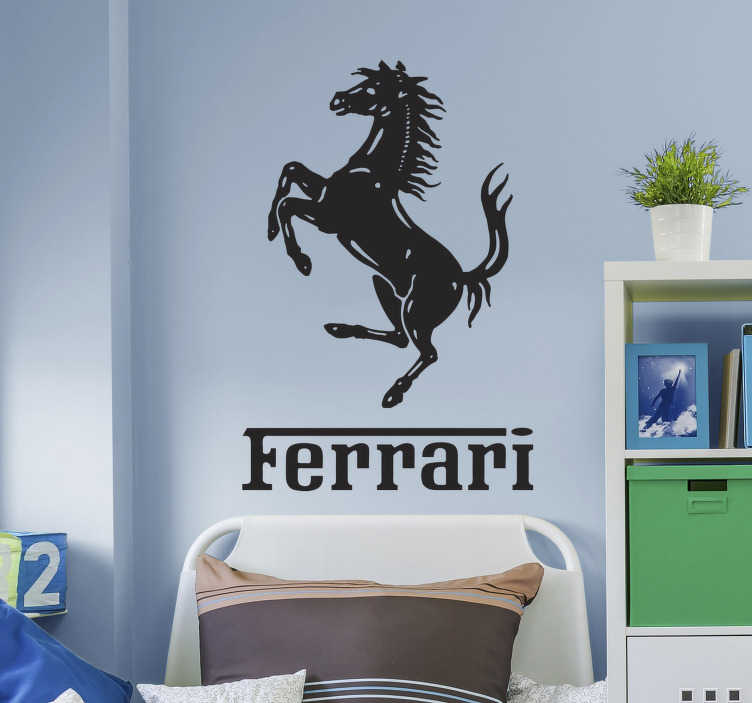 TenStickers. Ferrari Horse Sticker. Famous Italian brand of cars with the famous prancing horse. Get logo wall sticker to decorate your home or your own vehicle.