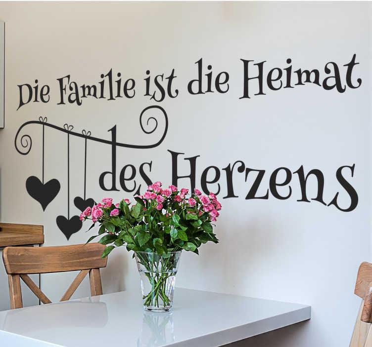 TenStickers. Spruch Familie. Spruch Familie - Dekorativer Sticker für das Wohnzimmer. Liebesbotschaft an die Familie. Zeigen Sie das Ihnen die Familie wichtig ist.