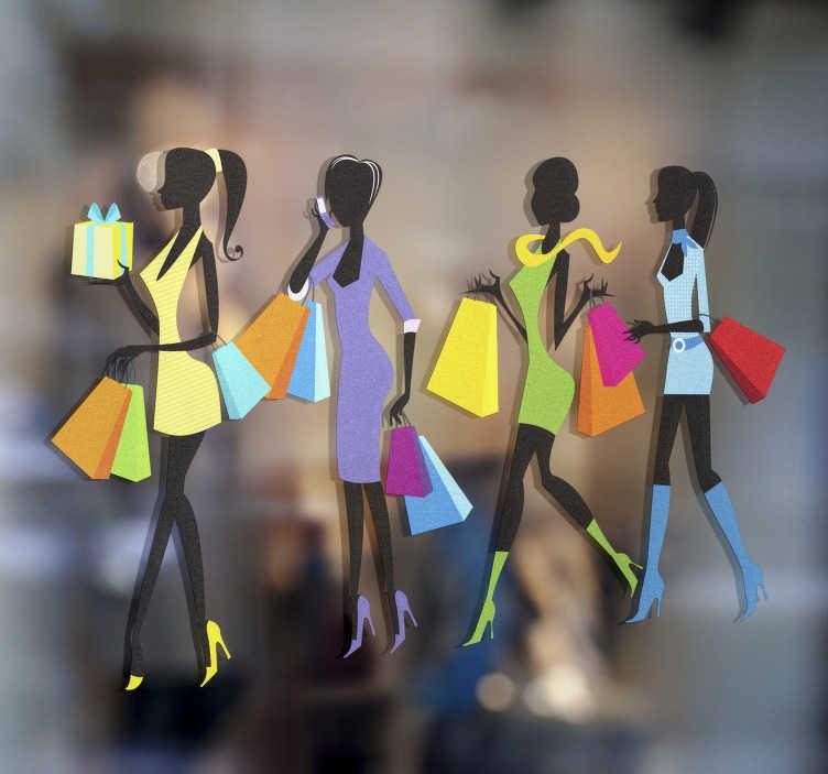 Tenstickers. Sisustustarra shoppailijat jonossa. Sisustustarra shoppailijat jonossa. Hauska tarra, jossa on jono tyylikkäitä naisia värikkäissä vaatteissa, ostoskassit käsissä shoppailemassa.