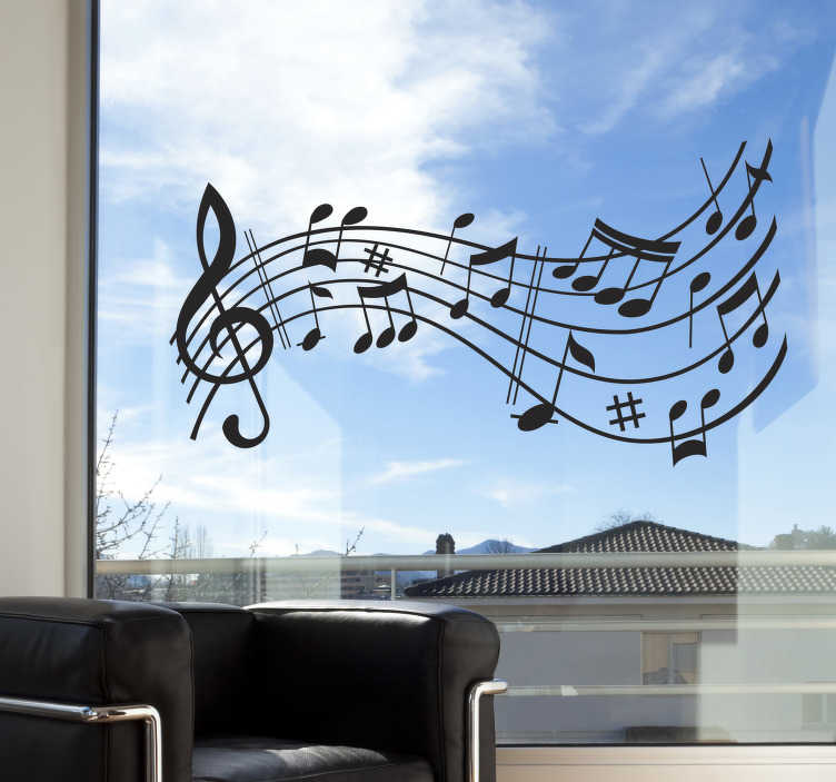 TenStickers. Musical Score Symphony Wall Sticker. Room Stickers - Let the music flow in your home with this musical theme design.Decals ideal for decorating your home.
