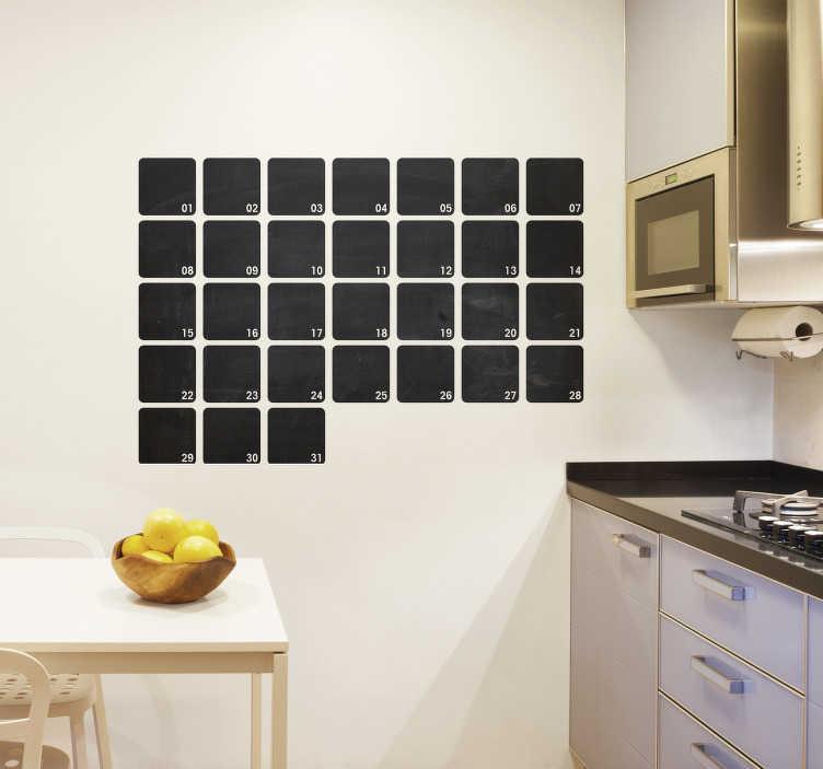 TenStickers. Lavagna gesso planning mese. Lavagna adesiva da parete per annotarvi con semplicità e rapidità gli impegni che affollano le tue giornate.