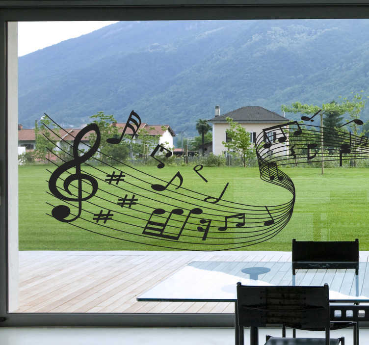 TenStickers. Musical Notes Wall Decal. Have you always loved music? Then add a special design to your home with this music wall sticker of curved lines with musical notes. This monochrome wall sticker consists of a curved line of notes with different musical signs and is available in multiple sizes and colours.