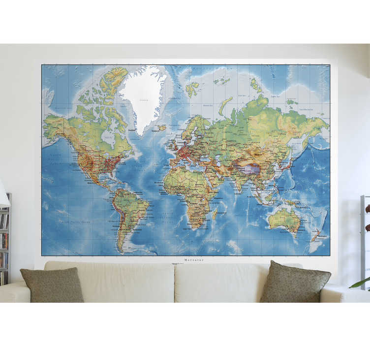TenStickers. World Atlas Map Wall Sticker. Wall Stickers - Atlas map of the world. Ideal for learning and decorating any space.