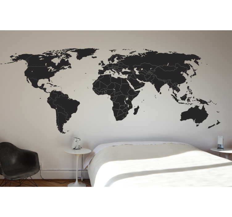 TenStickers. World Map with Borders Wall Sticker. Wall sticker of the world map with the borders in each country. A well detailed map that will make your home look fantastic.