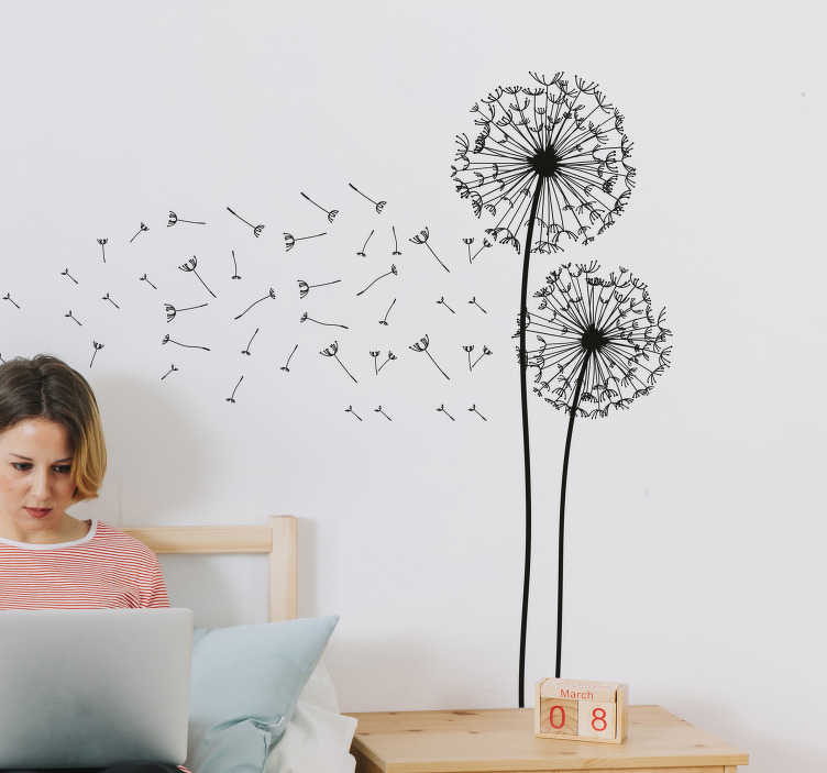 TenStickers. Two Dandelions Wall Art Decal. A fantastic floral design illustrating two dandelions from our creative collection of dandelion wall stickers for your living room.