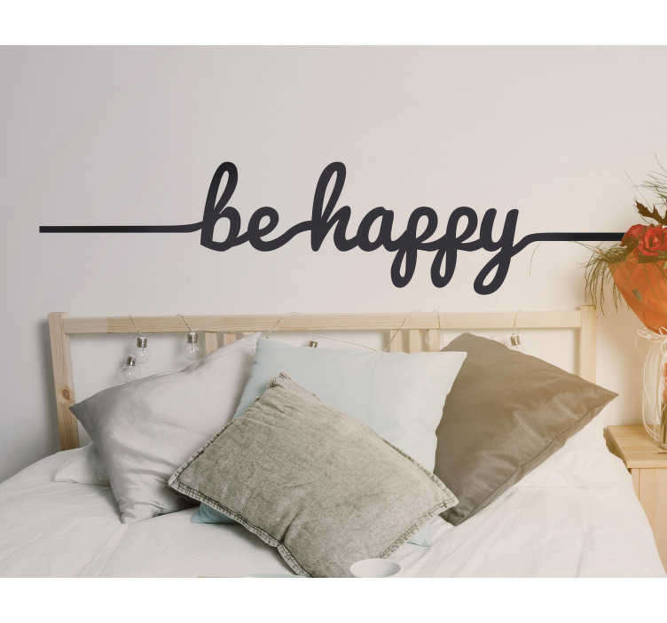 "TenStickers. Be Happy Line Sticker. Original design with the words ""be happy"" linked together in decorative cursive writing."