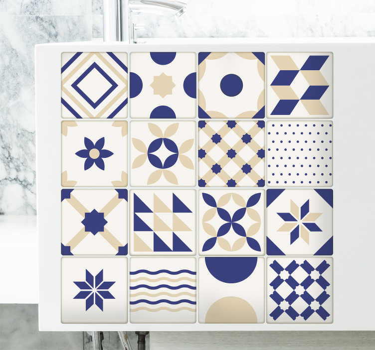 TenStickers. Ceramic Tiles Wall Sticker. Tiles Wall Sticker for your kitchen or bathroom. Unique Portuguese design perfect for adding that touch of style to any room in the house.