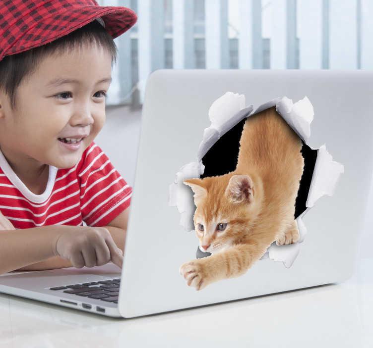 TenStickers. Mülltonnenaufkleber Katze. Verschönern Sie Ihre Mülltonne mit einem niedlichen Aufkleber einer Katze. Der realistische Mülltonnenaufkleber Katze wirkt so, als ob eine süße Katze gerade durch eine Abfalltonne steigen würde.
