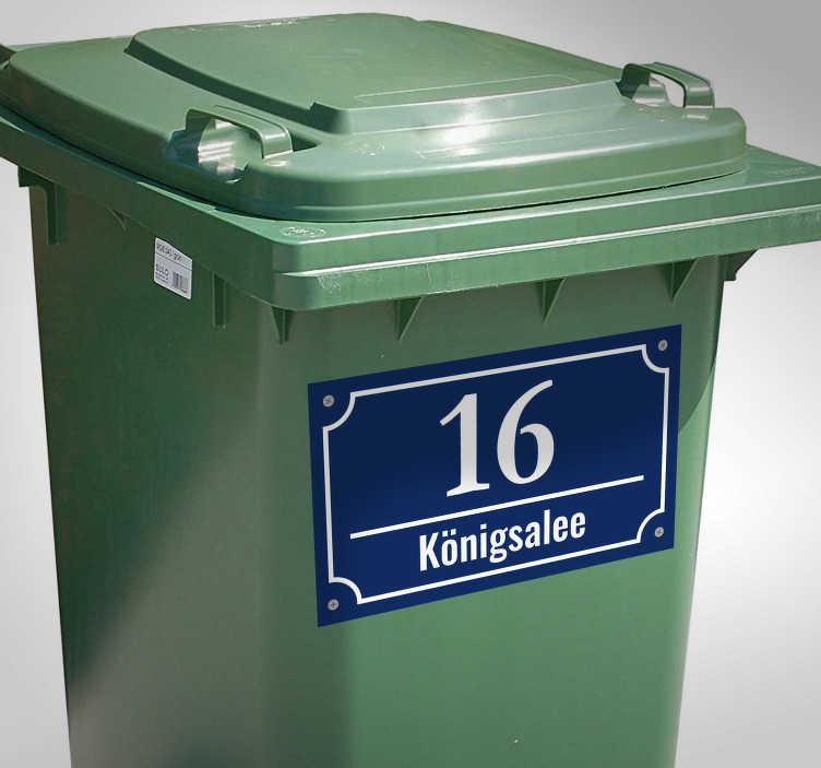 TenStickers. Straßenname + Hausnummer Aufkleber. Erstellen Sie den Straßennamen und Ihre Hausnummer als Aufkleber. Der Sticker eignet sich sowohl für den Briefkasten, Mülltonne und Haustür.