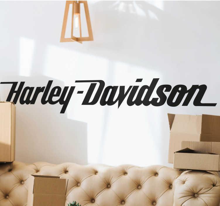 TenStickers. Harley Davidson Vinyl Sticker. Vehicle Sticker - Italic typeface font of the American brand.