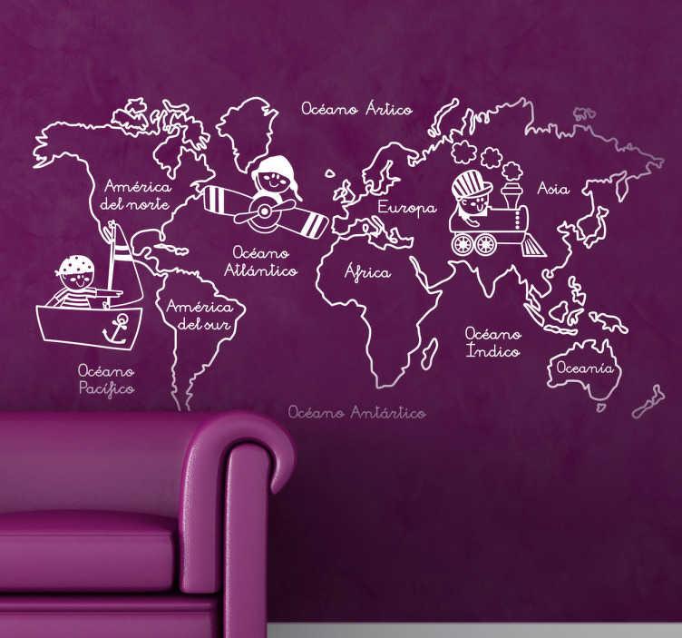 TenVinilo. Vinilo monocolor ilustración continentes. Enséñale a tus hijos con este adhesivo los nombres de todos los continentes y océanos del planeta.