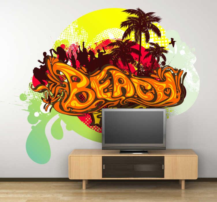 TenStickers. Vinil adesivo Beach party. Decore a sua parede ou o seu carro com estevinil adesivo com uma imagem apelativa da praia com palmeiras e festa. Medidas personalizáveis.