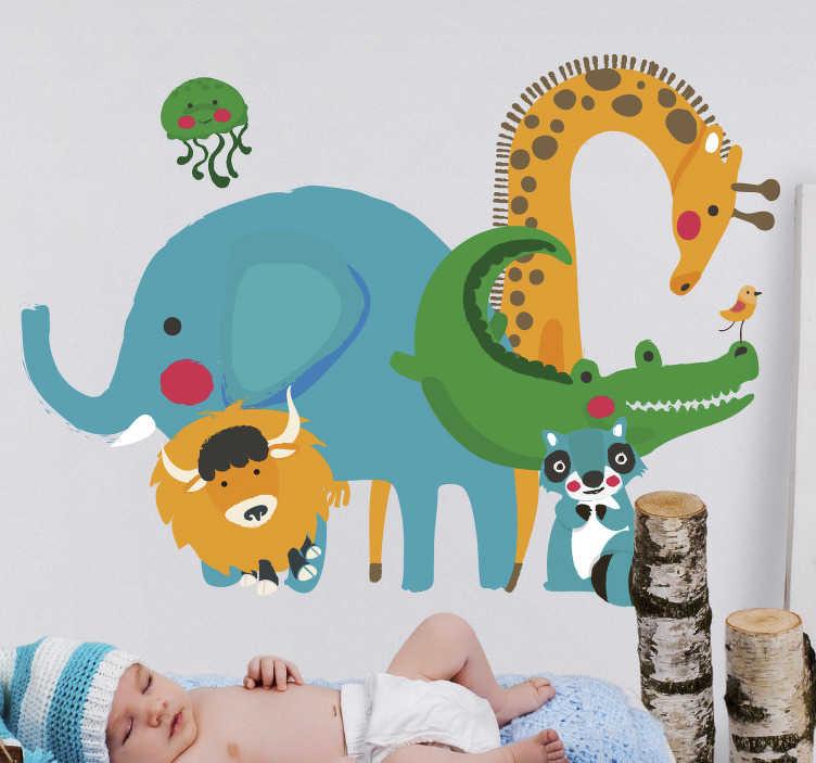 TenStickers. Autocolantes animais animais selvagens infantis. Autocolantes em vinil para decorar as portas, as paredes e as janelas de sua casa. Um dos adesivos ideais para usar no quarto dos mais novos!