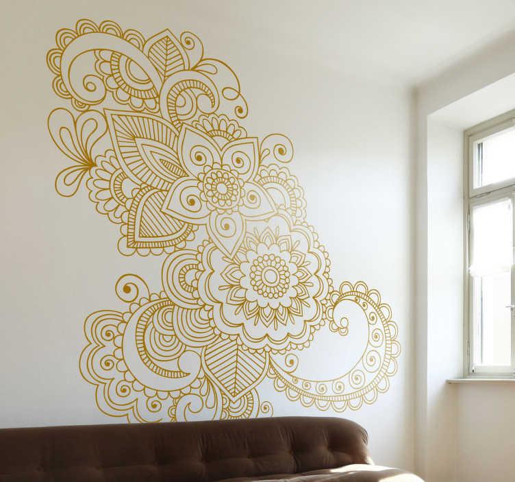 TenVinilo. Vinilo decorativo ornamento floral Asia. Detalladísimo vinilo de inspiración india en la que se entremezclan distintas flores.