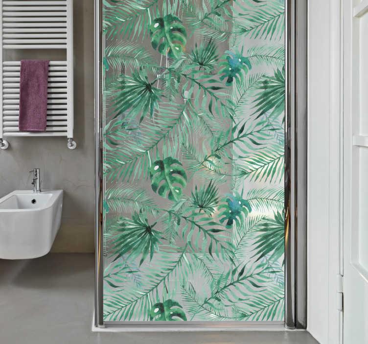 TenStickers. Tropske rastline tuš decal. Barvita nalepka za kopalnico, ki bo vašemu steklu za tuširanje prinesla edinstven pridih. Ta nalepka zaslona za prhanje se bo počutila, kot da se v amazonskem deževnem gozdu sprejemate tropsko prho.
