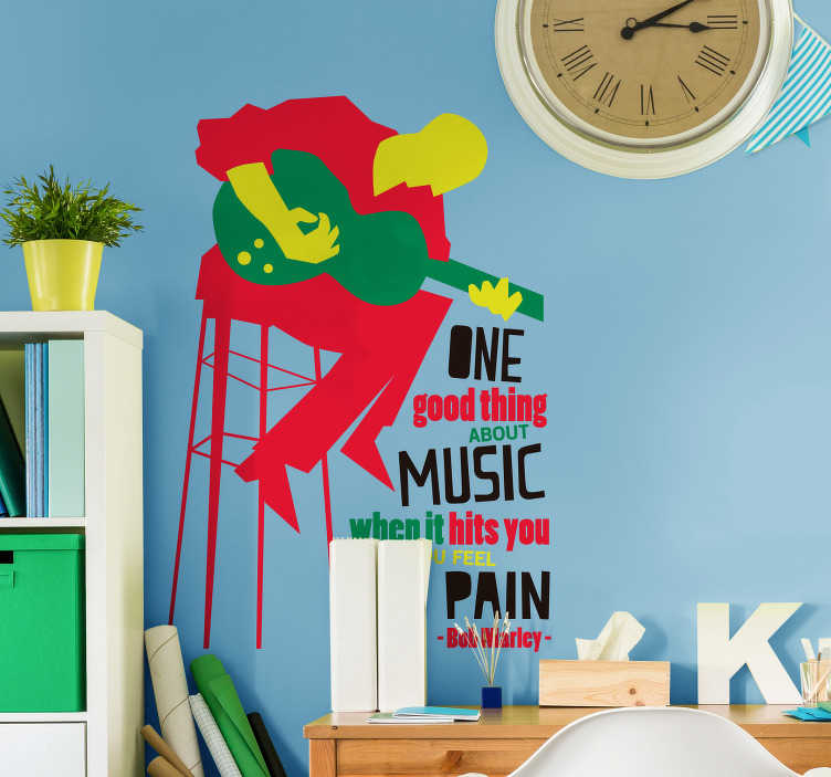 "TenStickers. Adesivo murale canzone Bob Marley. Scopri il nostro sticker frase canzone con i versi ""One good thing about music, when it hits you, you feel no pain"" di Bob Marley!"
