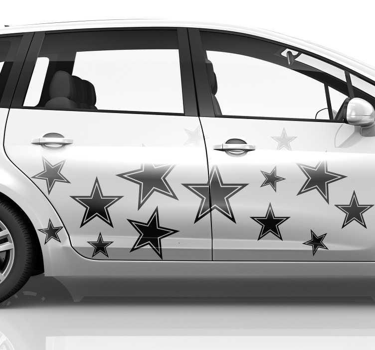 Tenstickers. Tuning stjerner bildekal. Dekorere et kjøretøy med vår originale bilvinyldekal med stjernetrykk. Det er tilgjengelig i forskjellige farger og størrelsesalternativer.