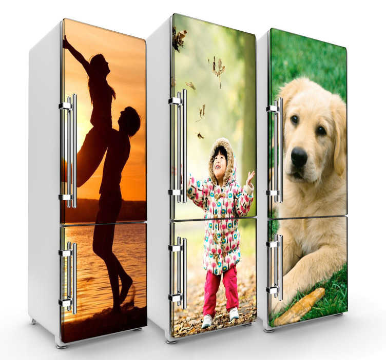 TenStickers. Personalised Photo Fridge Sticker. Personalised Fridge Stickers - Custom-made fridge decals where you can have a large photo of your family, pets, holidays, wedding or anything else on your fridge!