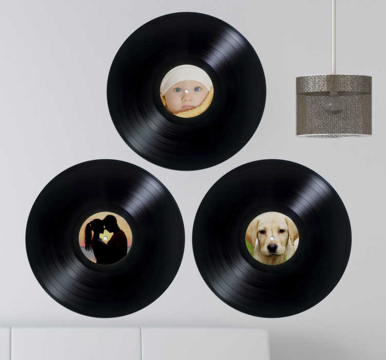 TenStickers. Personalised Vinyl Records Wall Stickers. Wall Stickers - Personalise a vinyl record sticker with a picture of your choice. Ideal for decorating your home.