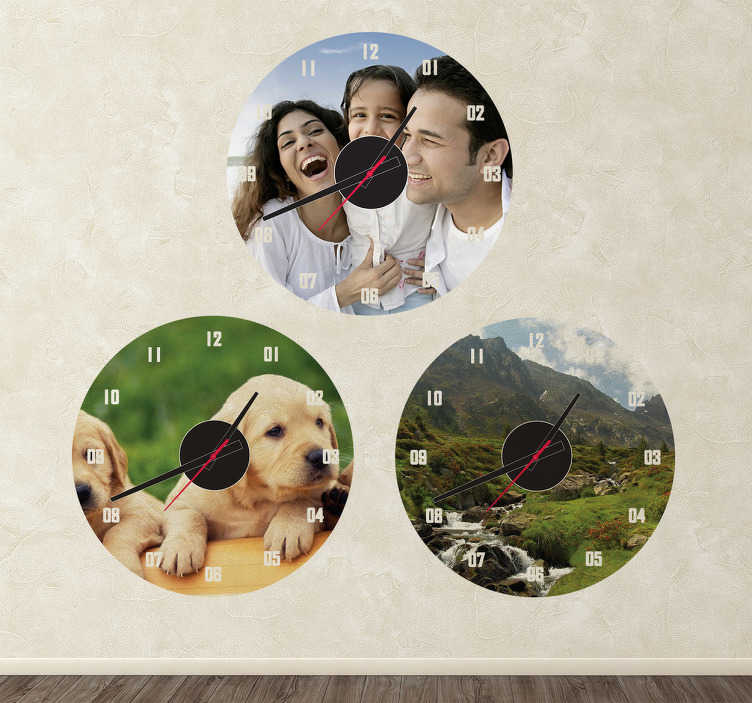 TenStickers. Personalised Photo Wall Clock Sticker. Wall Clocks - Create a customised clock with your favourite photographs from family portraits to pets and more. Perfect for any room