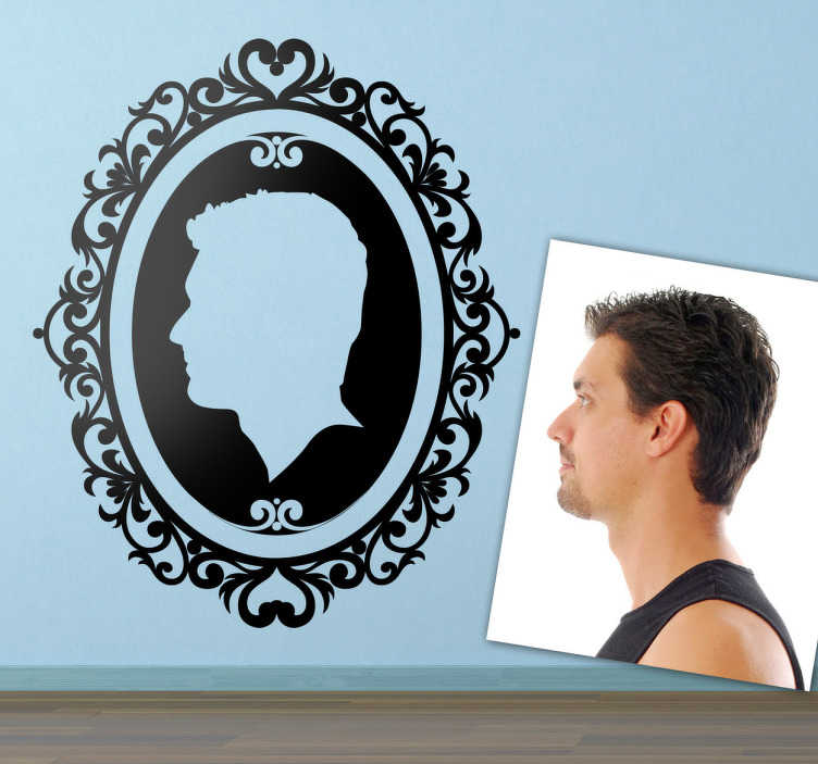 TenStickers. Personalised Portrait Frame Wall Sticker. Personalised Wall Stickers - Self-portrait illustration. An elegant and vintage design to decorate your home.  Select your preferred size and colour and we will transform a picture of your face into silhouette form to be stuck to a wall and add some class to your home.