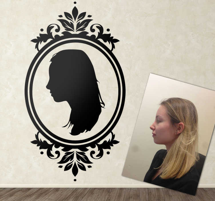 TenStickers. Personalised Portrait Frame Sticker. Wall Stickers - Self-portrait illustration. An elegant and vintage design to decorate your home. Select your preferred size and colour.
