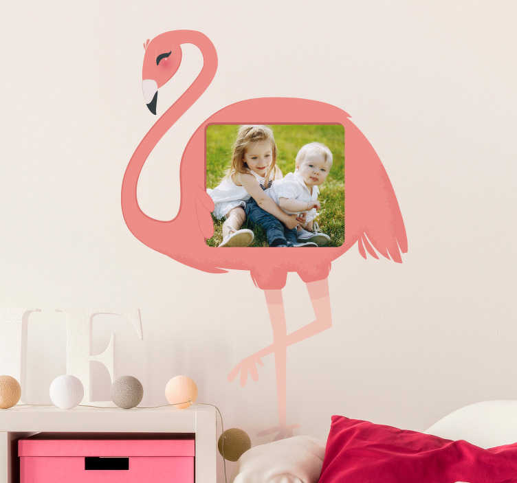 TenStickers. Flamingo Photo Customisable Sticker. Decorate your home with this fantastic customisable wall sticker! Extremely long-lasting material.