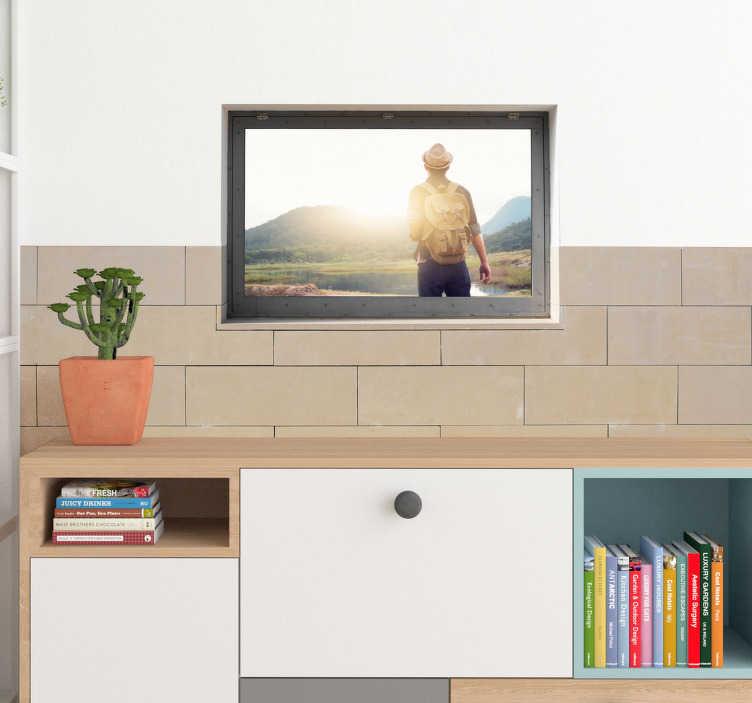 TenStickers. Adesivo personalizzato con foto propria. Decorazione adesiva per pareti per dare un tocco proprio e moderno, sorprendendo chiunque! Di semplice applicazione, originale ed economico.