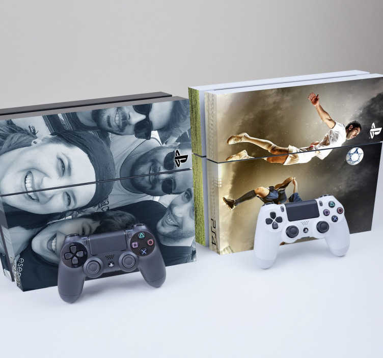 TenStickers. Customisable PlayStation 4 Skin. PS4 Skins - Customise your PlayStation 4 console with this high quality decal vinyl. Personalise your PlayStation with family photos, friends, etc.