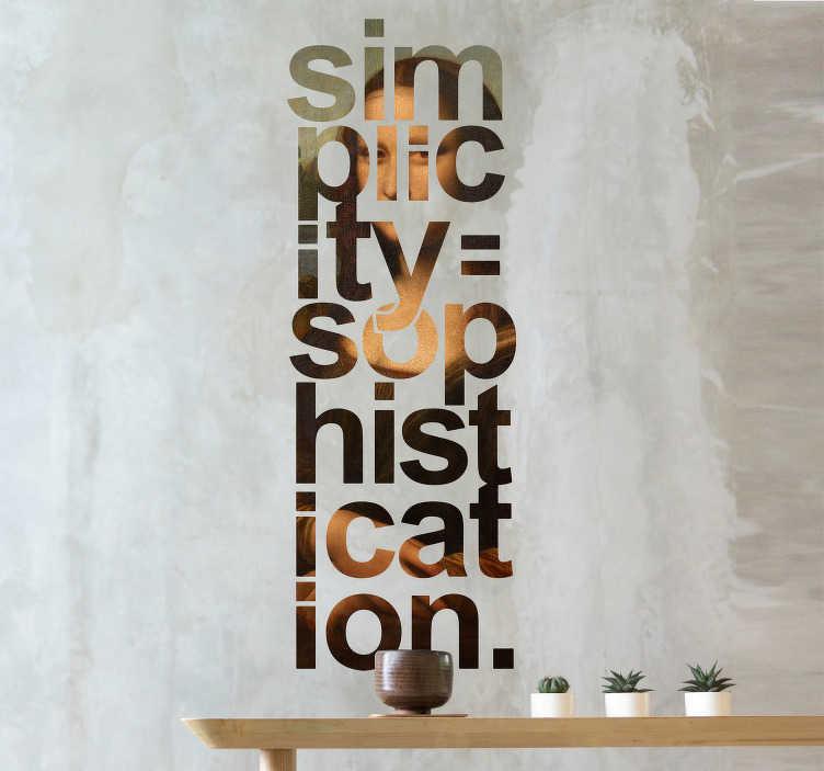 TenStickers. Mona lisa minimalistična poslikava vinilne stenske umetnosti. Izvirno stensko nalepko za citiranje besedila, ki jo je navdihnil polovični portret mona lise. Enostaven za uporabo in na voljo v poljubni velikosti.