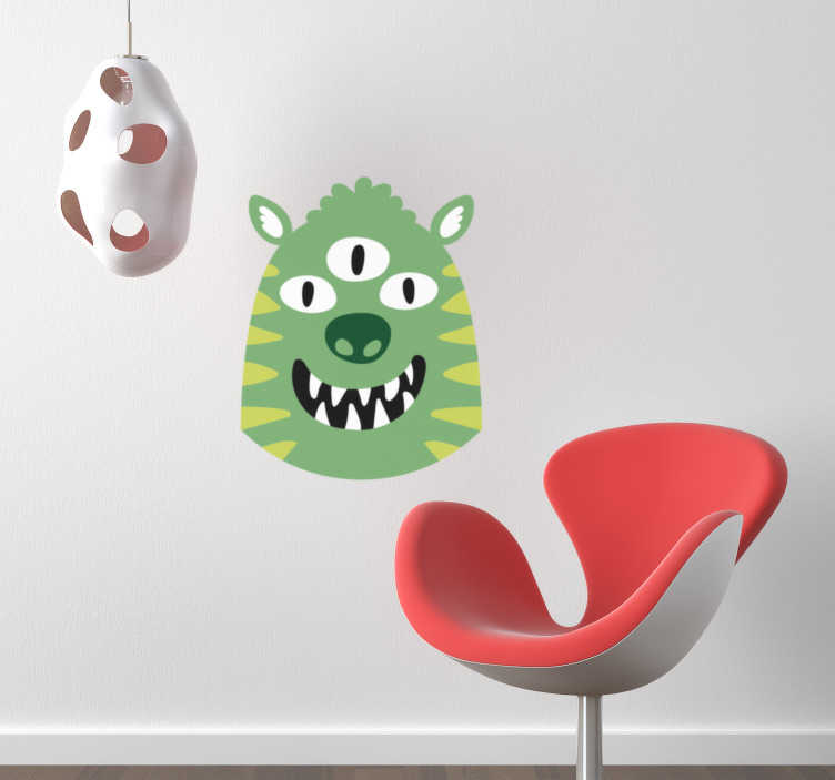 TenStickers. Kids Happy Monster Wall Sticker. Smiling green monster wall sticker for decorating your child's bedroom. Add some colour and happiness to the room with this furry monster head!