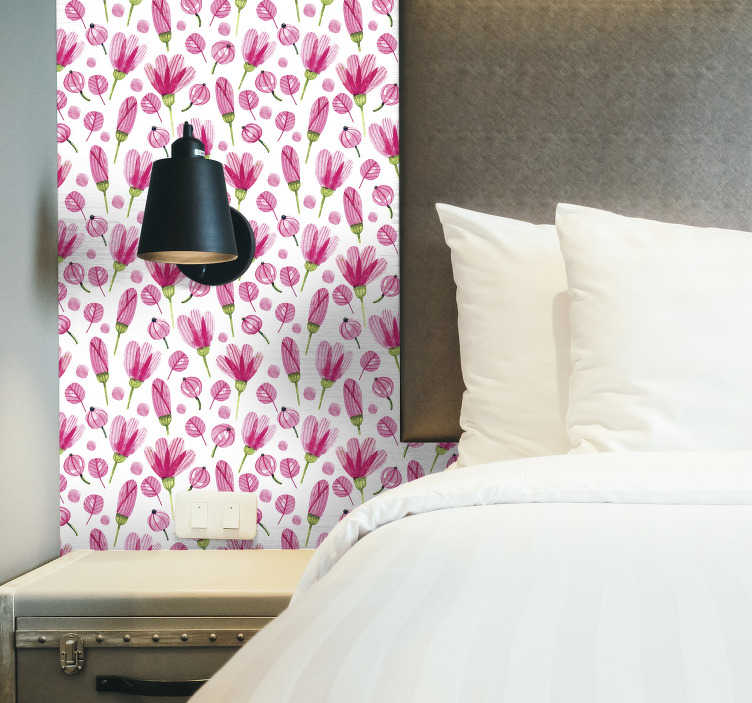 TenStickers. Ikea sticker pink flowers. Decorate the Ikea furniture in your home with this decorative sticker full of pink flowers. Bring an energetic and colorful touch in the room with this decoration.