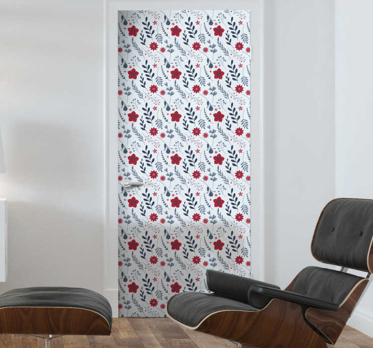 TenStickers. Bathroom furniture sticker flower. Bring a floral and happy touch to your bathroom with this flower sticker. The adhesive consists of a pattern full of flowers in white red and green colors.