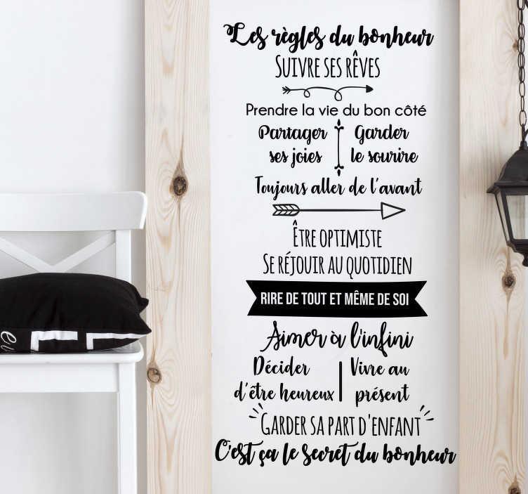 TenStickers. Sticker Mural Les règles du bonheur. Ce sticker mural texte vous permettra de vous rappeler, à vous et à votre famille, les règles essentielles du bonheur tous les jours !