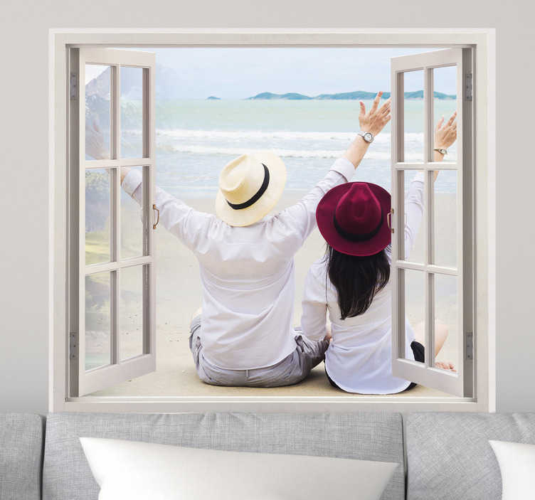 TenStickers. Personalised Photo Window Frame. Customised Wall Stickers - Open the windows to your favourite memories or view. You can now have your own picture on your wall with this fantastic frame. Available in various sizes. *Image on sticker is used for display purposes