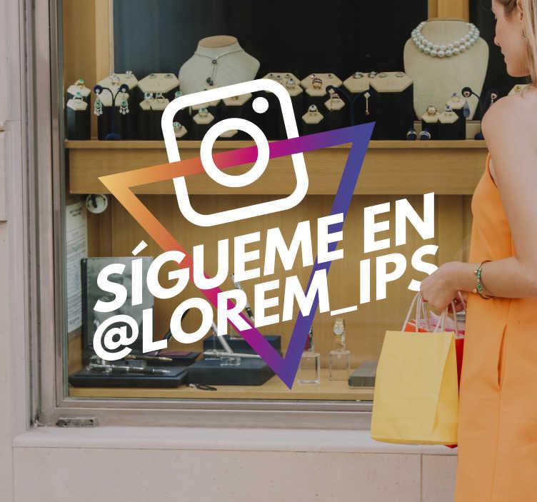 TenVinilo. Vinilo tecnología sígueme en instagram. Pegatina adhesiva personalizada formada por el logo de instagram ideal para que tus clientes te sigan en dicha red social. Envío Express en 24/48h.