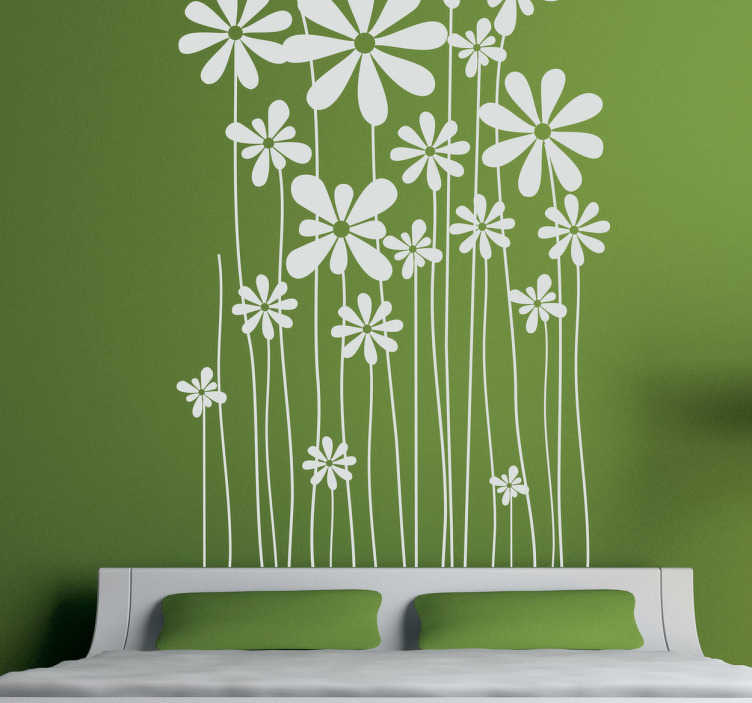 TenStickers. Tall Daisies Wall Sticker. A fantastic design with various tall crowned daisies from our collection of daisy wall stickers. Monochrome wall sticker perfect for personalising your bedroom, living room, kitchen and more!