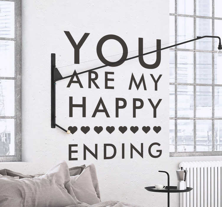 TenStickers. My Happy Ending Sticker. Romantic text sticker that will create a happy and loving atmosphere in your home.