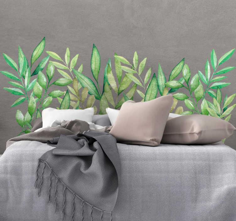 TenVinilo. Vinilo pared Cabecero hojas de eucalipto. Original cabecero adhesivo para habitación de matrimonio formado por el diseño de hojas de eucalipto. +10.000 Opiniones satisfactorias.