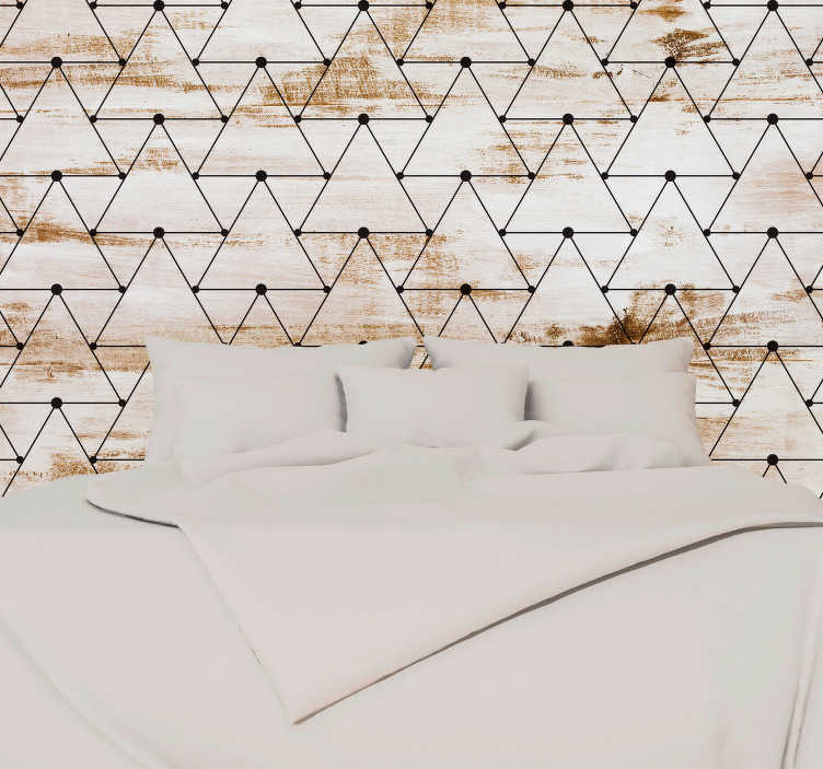 TenStickers. Geometric triangles headboard wall decal. Geometric triangle wall sticker with wood texture and triangle design. Easy to apply and available in different size options.