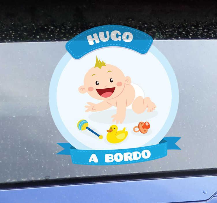 TenVinilo. Adhesivo bebé a bordo para coche. Pegatinas coche personalizables para señalizar con claridad y de forma original que en tu coche viaja un niño pequeño.
