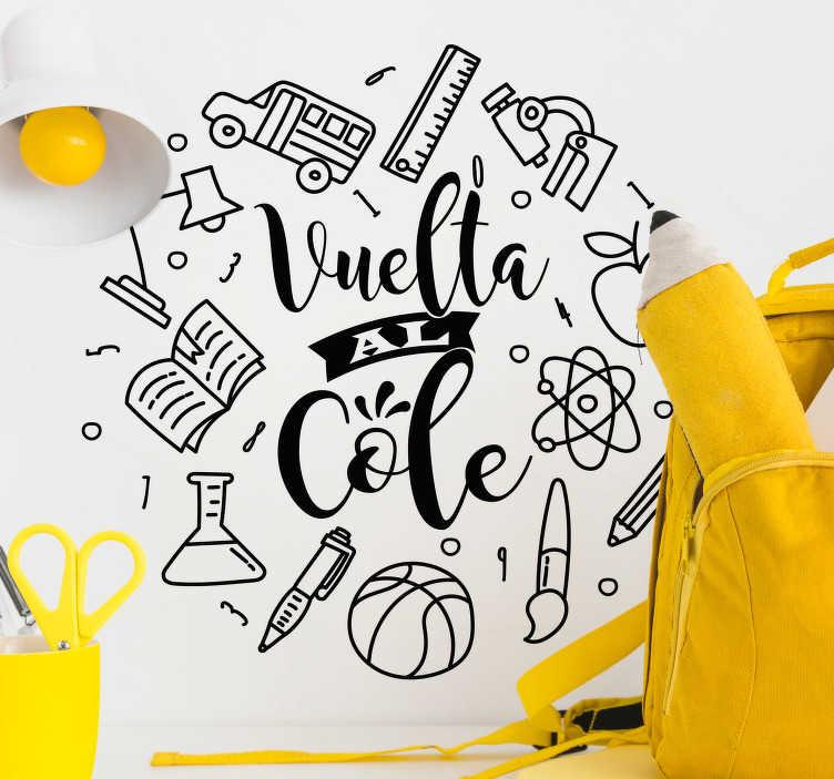 Vinilo Frase Vuelta Al Cole Material Escolar Tenvinilo