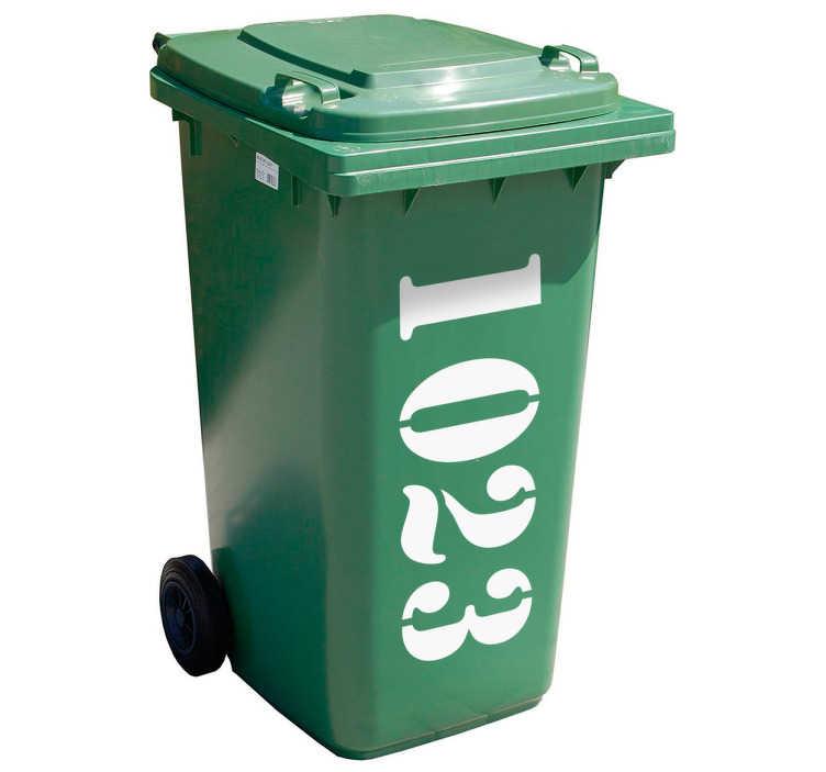 TenStickers. Personalisierbarer Mülltonnenaufkleber Hausnummer. Personalisieren Sie Ihre Mülltonne mit unserem Mülltonenaufkleber. Bestimmen Sie die gewünschte Nummer des Mülltonnen Stickers einfach selbst.