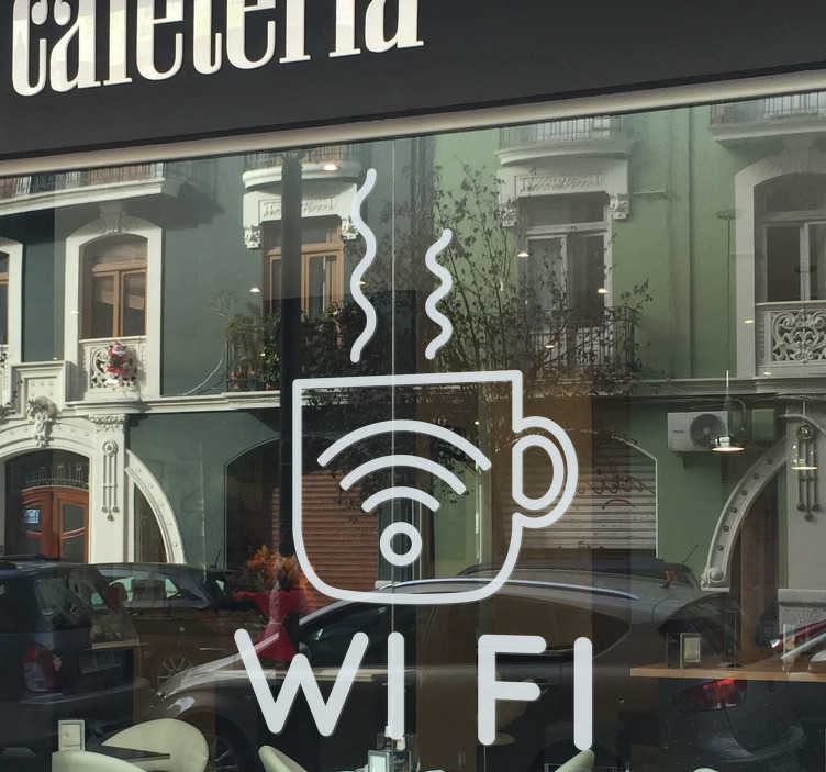 TenStickers. Wi-Fi Coffee Business Sticker. Bring your cafe into the modern age with this elegant Wi-Fi coffee wall sticker. Choose from a range of over 50 different colours!