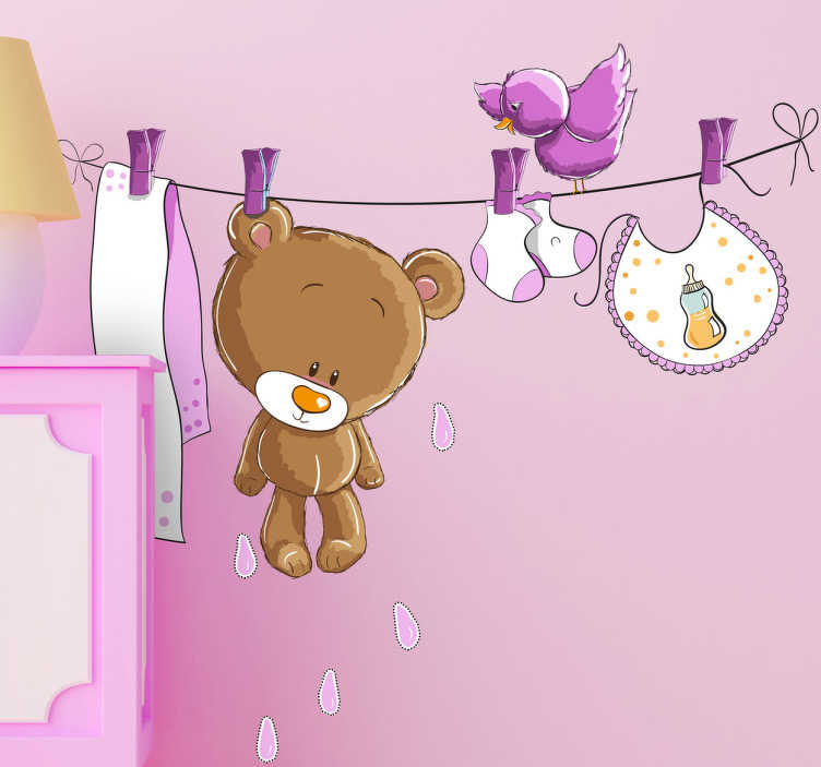 TenStickers. Pink Kids Wet Bear Wall Sticker. This lovely kids decal of a teddy pegged on a washing line is ideal for any girl's bedroom. Design from our collection of teddy bear wall stickers.