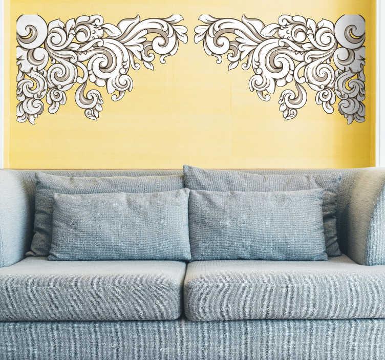 TenVinilo. Vinilo decorativo esquina renacimiento. Con este barroco adhesivo de inspiración floral le darás un aire distinguido a los rincones de tu casa.