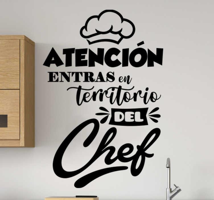 TenVinilo. Vinilo adhesivo cocina territorio chef vidrio . Un diseño de vinilo frase de cocina creado para estimular su arte culinario en la cocina. Diseño de texto original y fácil de aplicar.
