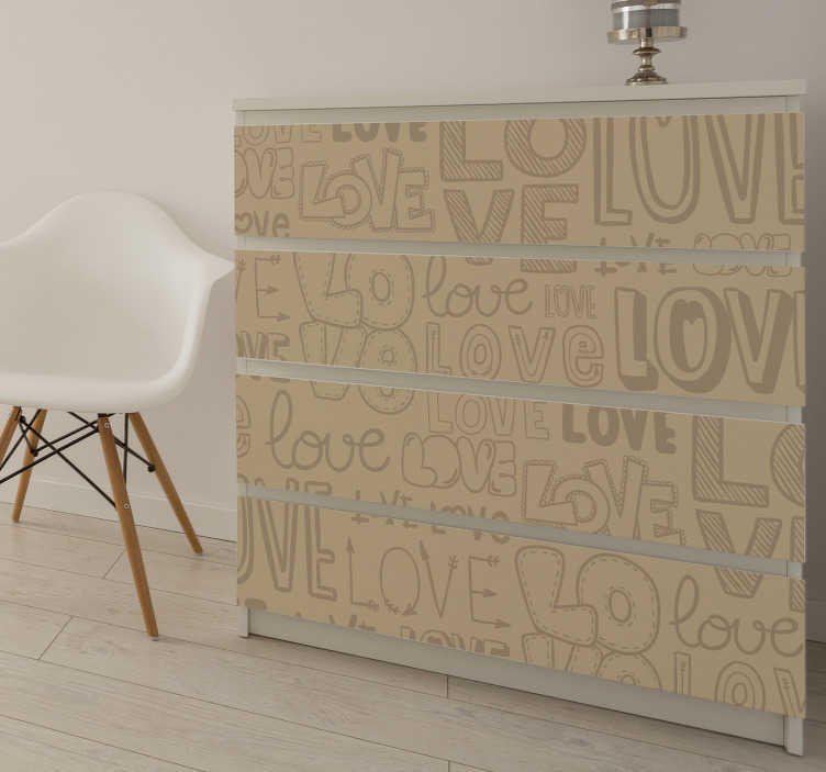 TenStickers. love vintage text furniture decal. Text style furniture decal created with love. This design is created in brown colour with wonderful and nice looking display of the love text.