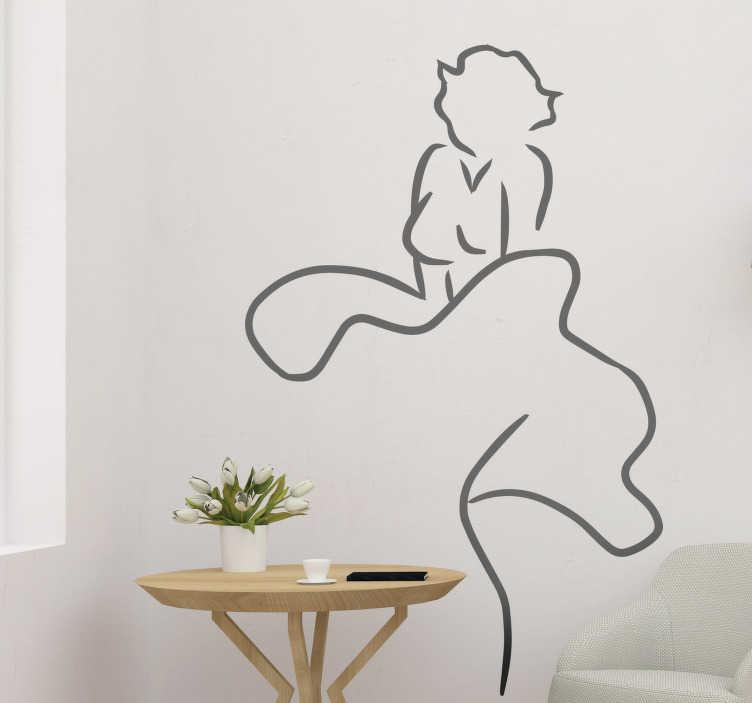 TenStickers. Autocolante de celebridades silhueta de Marilyn. Decore a superfície de qualquer porta com este autocolante de porta de Marily Monroe que apresenta a silhueta deste ícone dos anos 50.
